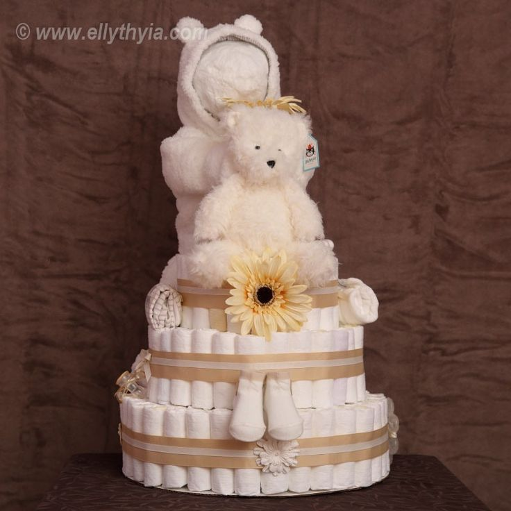 White Polar Bear and Baby Diaper Cake - Toronto Diaper Cakes and Baby Gifts