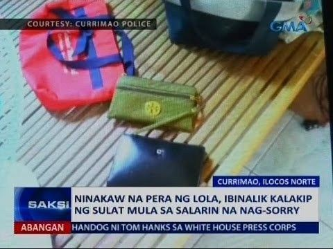 Saksi: Ninakaw na pera ng lola, ibinalik kalakip ng sulat mula sa salarin na nag-sorry - WATCH VIDEO HERE -> http://philippinesonline.info/aldub/saksi-ninakaw-na-pera-ng-lola-ibinalik-kalakip-ng-sulat-mula-sa-salarin-na-nag-sorry/   Saksi is GMA Network's late-night newscast hosted by Arnold Clavio and Pia Arcangel. It airs Mondays to Fridays at 11:30 PM (PHL Time) on GMA-7. For more videos from Saksi, visit  Subscribe to the GMA News and Public Affairs channel:  Visit