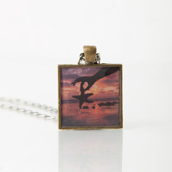sea star, necklace, handmade, photo jewelry, boho, beach, wearable art, red, sunset, summer, accessories, unique gift, square pendant, star by FoxyFunctionalPhoto