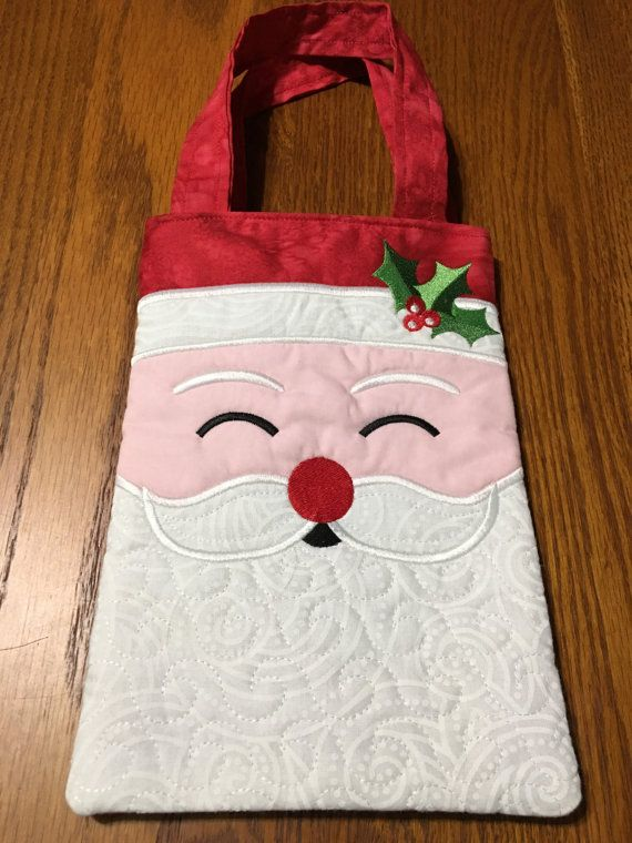 Quilted and Embroidered Santa Tote Bag by KrasoskisKrafts on Etsy