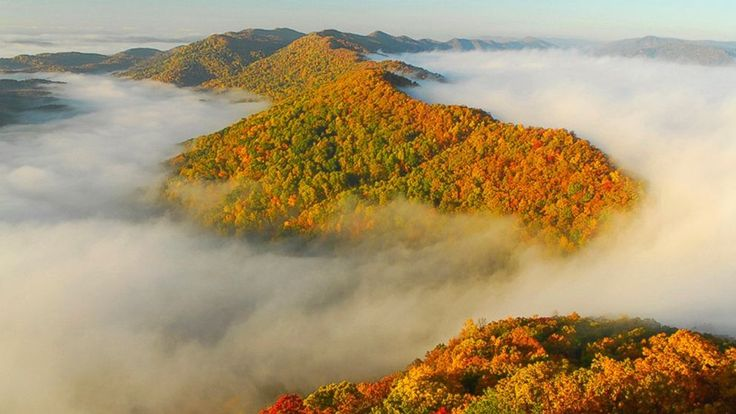 Autumn fog in the Middlesboro Basin in the Cumberland Gap National Historical Park in Kentucky.