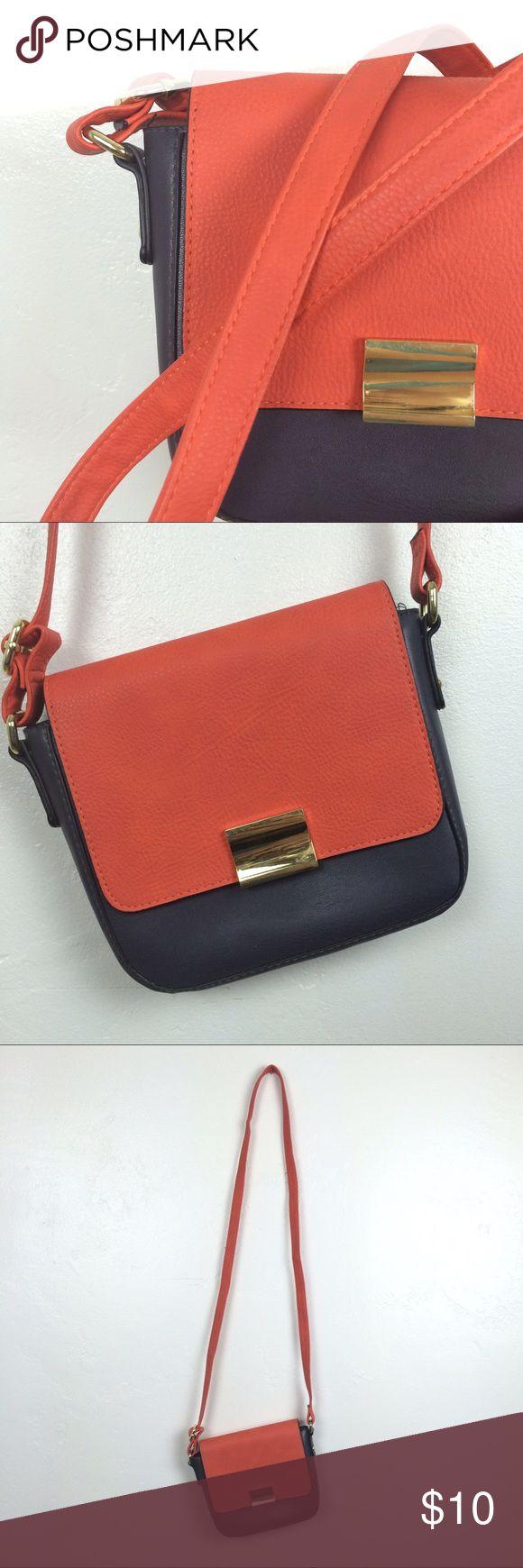 Target Merona red and dark grey shoulder bag Small messenger/ shoulder bag bright red/orange and dark grey with gold color buckle. Merona Bags Shoulder Bags