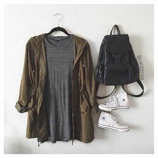 Black and White Striped Dress with Green Jacket and White High-Top Converse