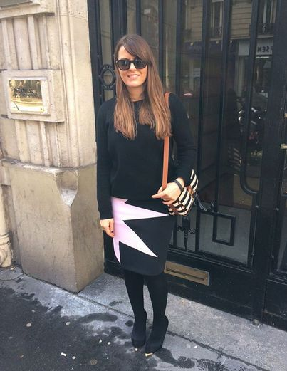 Fashion Director of neverunderdressed.com Ursula Lake wears JOANNE HYNES Pink Pop Art Pencil Skirt yesterday at Paris Fashion Week.