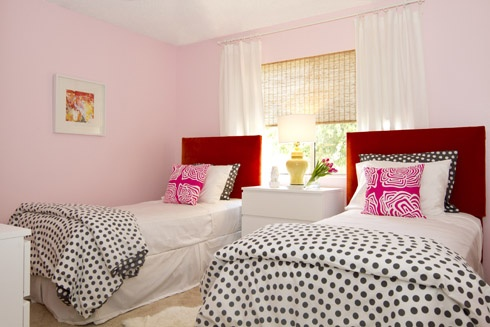 MadeByGirl Blog: Girls Bedrooms, Pink Rooms, Twin Beds, Pink Wall, Polka Dots Beds, Pink Bedrooms, Girls Rooms, Bedrooms Ideas, Twin Bedrooms