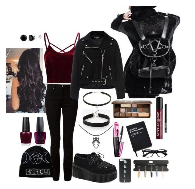 Goth-Rock Everyday Look by reemily on Polyvore featuring polyvore fashion style Doriane van Overeem Alexander Wang Demonia Express Hot Topic Carbon & Hyde EyeBuyDirect.com Too Faced Cosmetics NYX OPI Killstar clothing