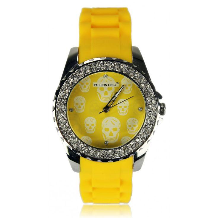Žluté dámske hodinky s platovým řemínkem. Průměr 4 cm, hodinový strojek: Quartz. Střední velikost.