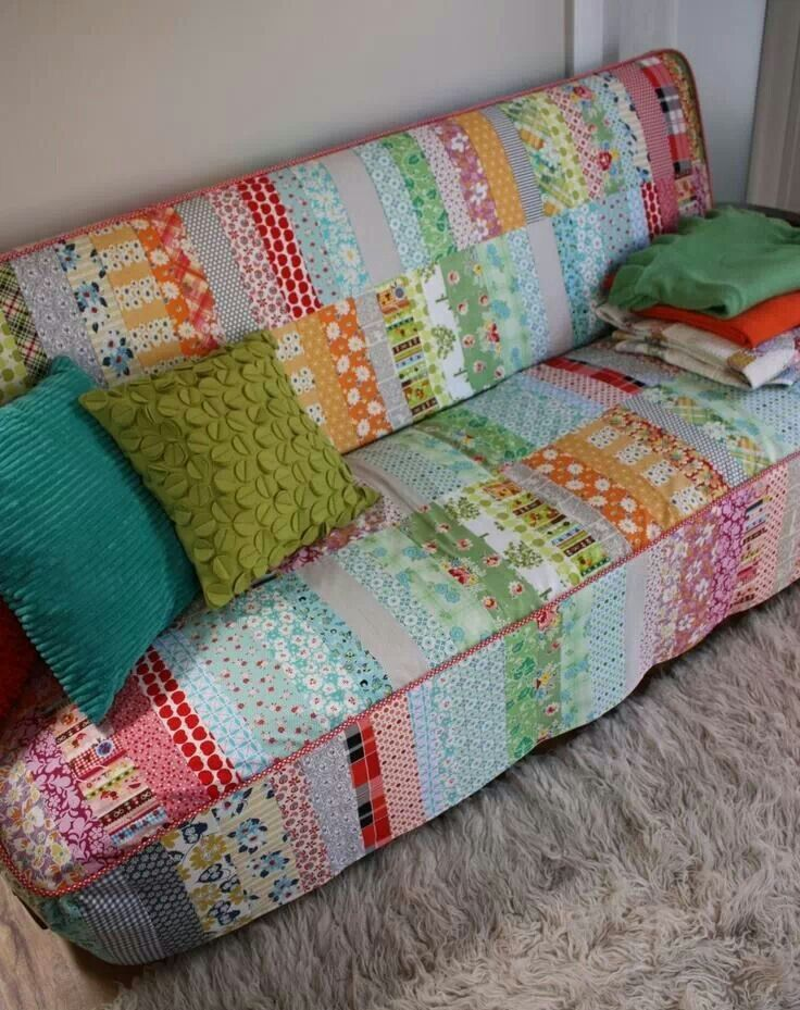 Upcycled - fabric into sofa cover, i wish i could sew!