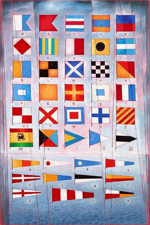 'The International Code: Flags for David Judah', 2008-2013, oil on panel 72 x 48 inches