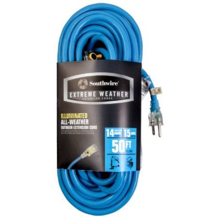 Southwire 58259801 14/3 Sjtoow Medium Duty Lighted Locking Outdoor Extension Cord, 50-Feet, Light Blue