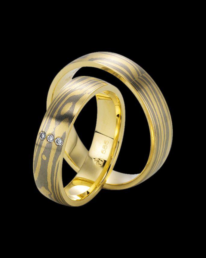Βέρες Χειροποίητες Mokume Gane δίχρωμες χρυσός-λευκόχρυσος Κ14 με Διαμάντια | eleftheriouonline.gr