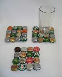 Bottle cap coaster...sooo doing this along with a bottle cap table for the game room!