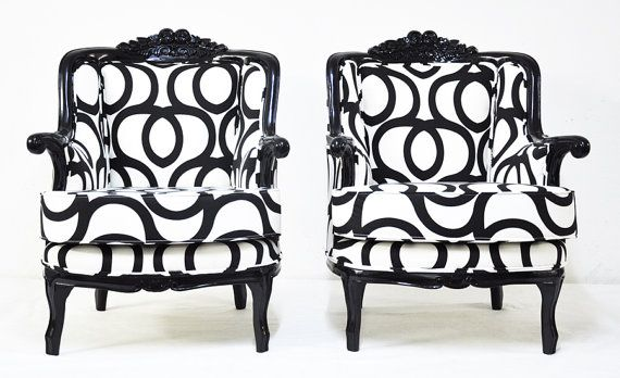 Black & White Armchairs with Cotton Geometric by namedesignstudio