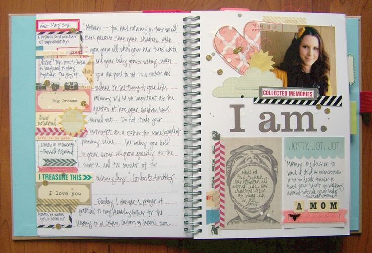 """I am"" Smash Book page created by Tessa Buys from the blog ""Precocious Paper."""