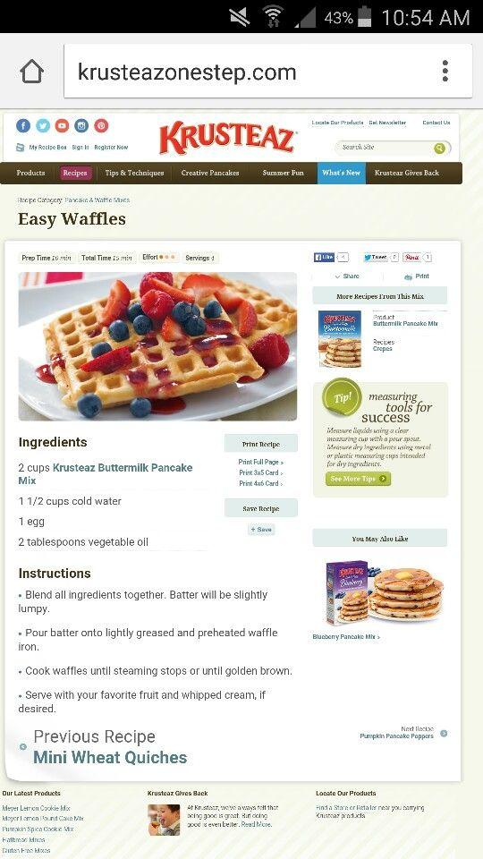 Waffles using krusteaz pancake mix