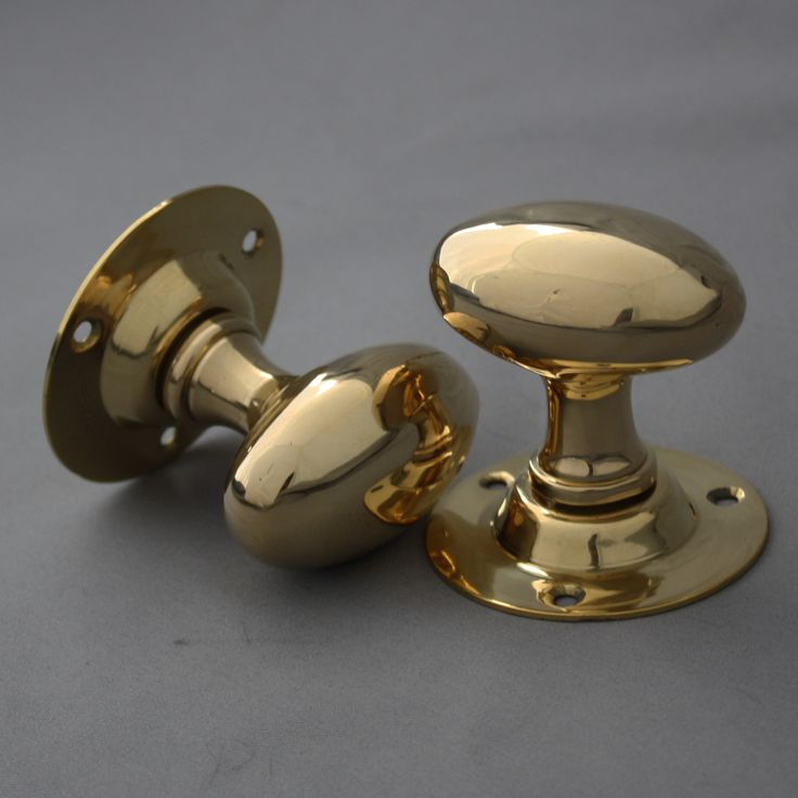 Edwardian Style Brass Oval Door Knobs