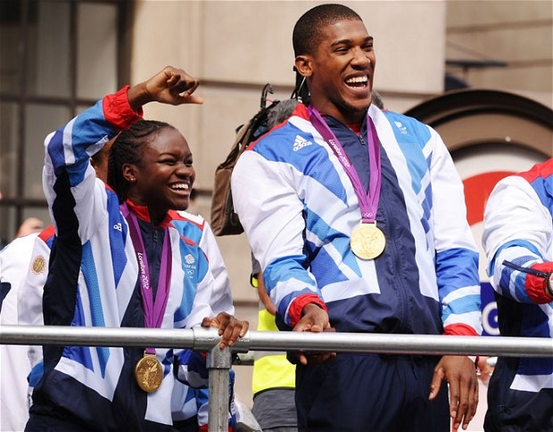 Boxers Nicola Adams and Anthony Joshua pass Mansion House - Picture: David Fisher/ Rex Features