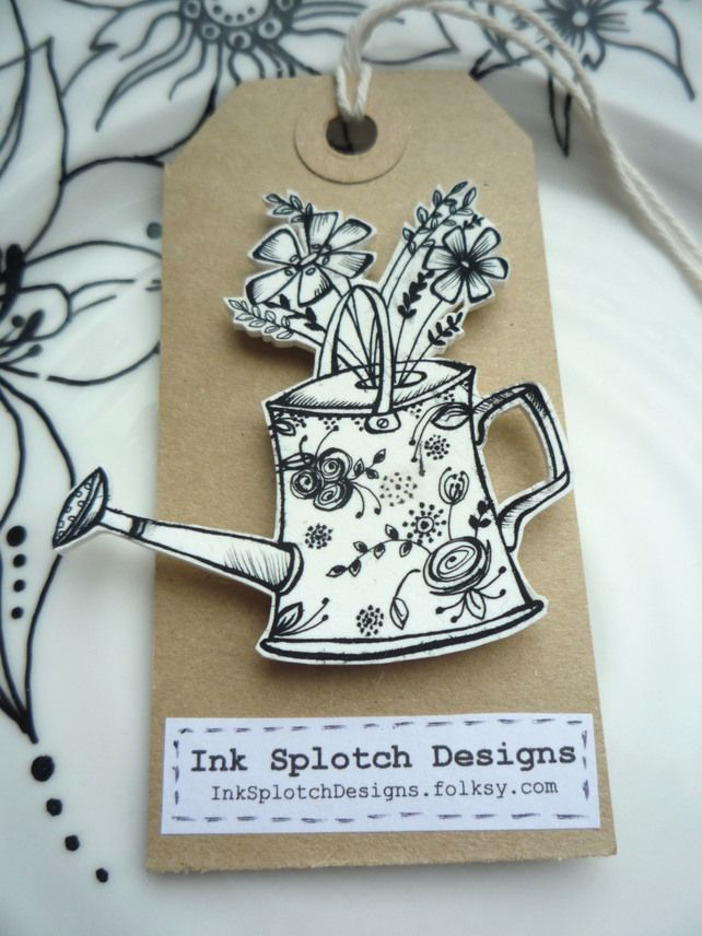 Pretty Shrink Plastic Watering Can Pin Brooch