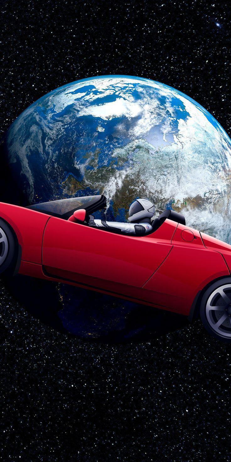 marvelous wallpaper Tesla Roadster, Astronaut, earth orbit