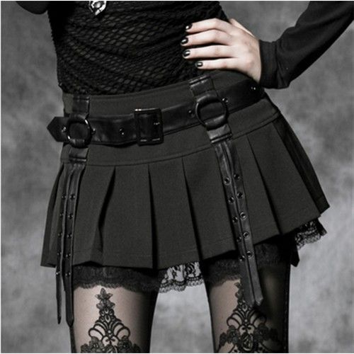 PUNK RAVE Black Pleated Buckle Gothic Skirt - Blue Products- - TopBuy.com.au