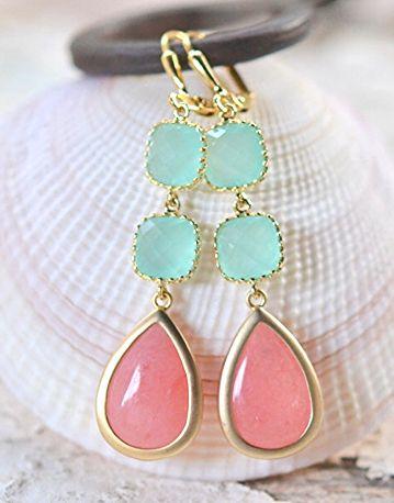 Coral and Aqua Bridesmaids Earrings. Long Dangle Earrings. Wedding Jewelry.