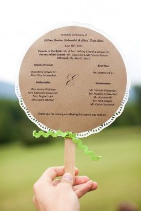 Ceremony Program Fans 275x412 DIY Virginia Wedding Ceremony: Jillian + Chad