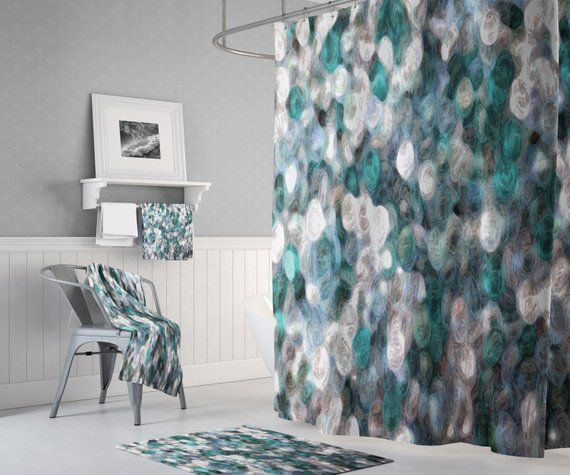 Blue Teal And White Watercolor Shower Curtain Decorative Bathroom Decor Watercolor Shower Curtain Custom Shower Curtains Decor