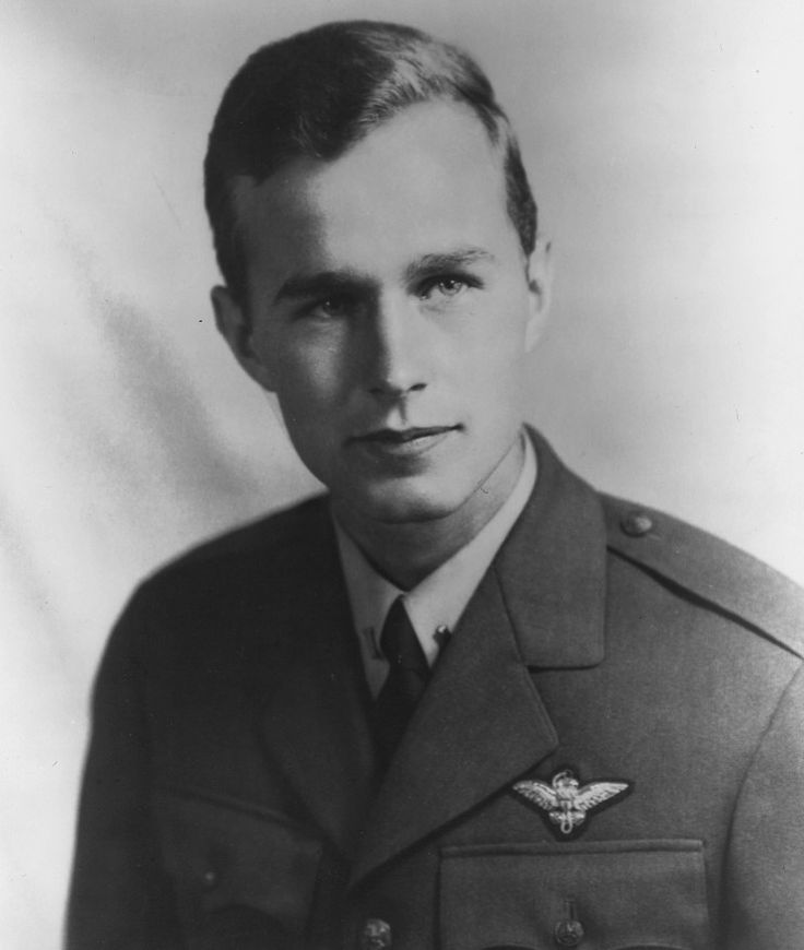 George H.W. Bush. Youngest pilot in the United States Navy during World War II (age 19). Earned Distinguished Flying Cross.