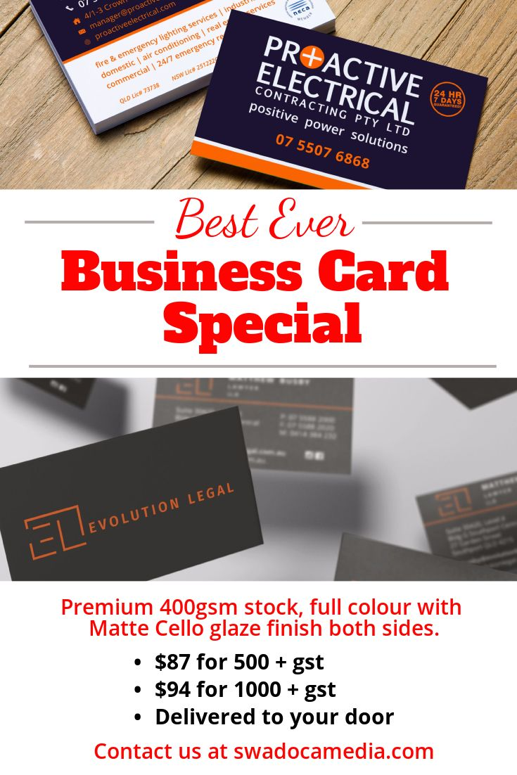 If you are looking for great quality business cards for your company we have them for you and can send them all over Australia or even all over the world  jsut contact us via our website below or PM us on social @swadoca and please make sure you are part of our community and like, share and follow us for more.