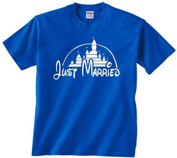 Juste mariés Disney Château t shirt tshirt tee correspondant à répétition de réception de mariage nuptiale partie walt forfait lune de miel mariage de marié mariée disney