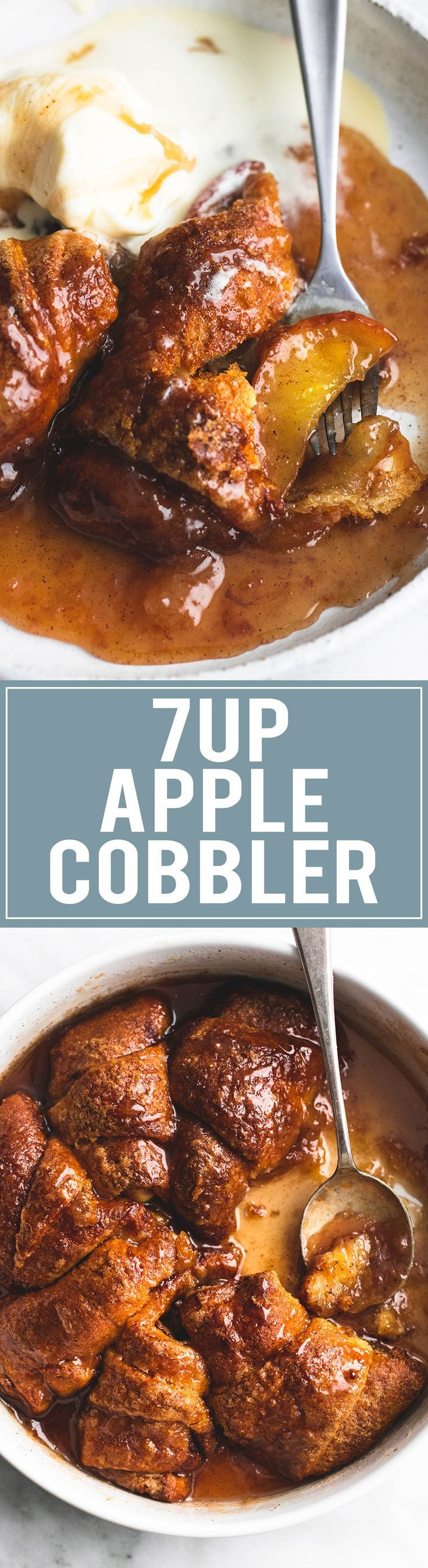 7UP Apple Cobbler - 7UP soda and refrigerated crescent dough turn apple cobbler into a super simple and delicious dessert!   http://lecremedelacrumb.com