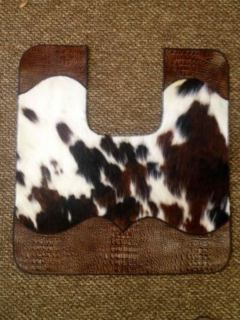 COWHIDE AND LEATHER BATH TOILET CONTOUR MAT | Western Decor by Signature Cowboy