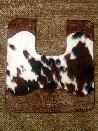 COWHIDE AND LEATHER BATH TOILET CONTOUR MAT | Western Decor by Signature Cowboy