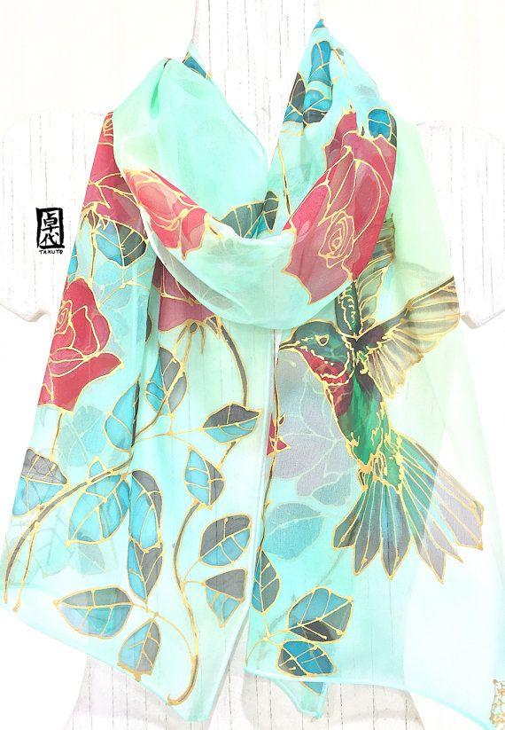 Hummingbird Scarf ETSY Silk Scarf Hand by SilkScarvesTakuyo