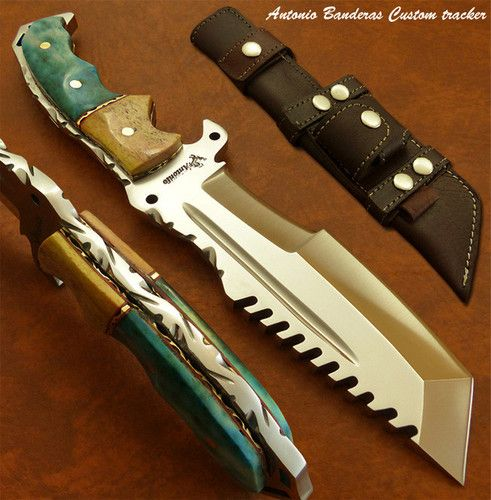 Antonio Banderas 1 of A Kind Custom Bushcraft Tracker Knife Survival Damascus | eBay