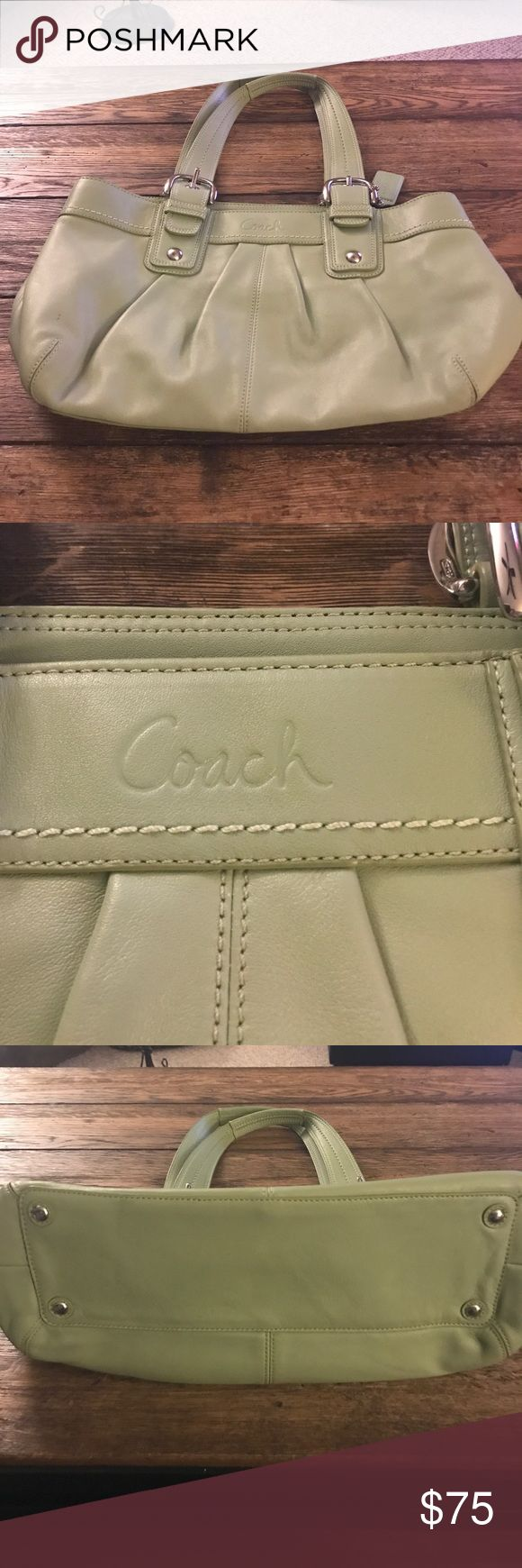 """Authentic COACH. Purse Pale green COACH purse with 10"""" straps...like new no marks, rips, tears or stains. Silver buckles Coach Bags Shoulder Bags"""