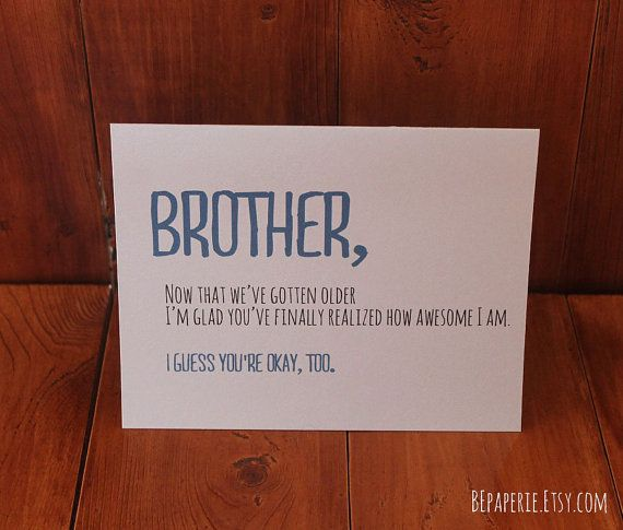 Birthday Cards Brother From Sister ~ Brother card birthday funny for friend sibling s day snarky