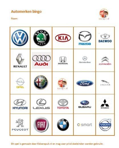 Automerken bingo, superleuk tijdens een roadtrip. Vanaf circa 4 jaar.
