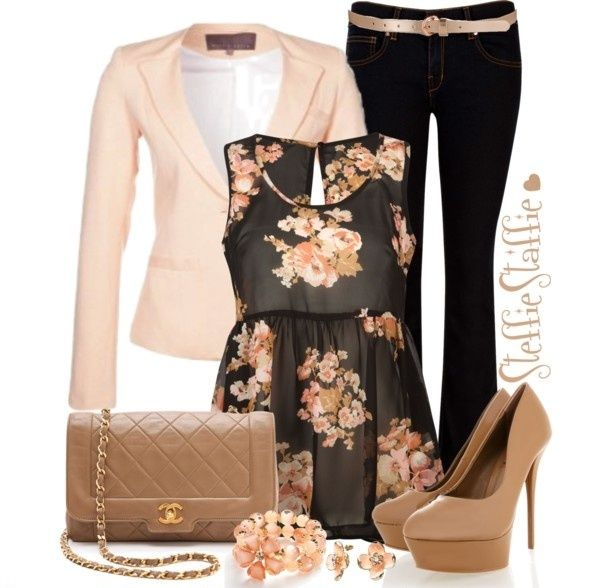 28 Trendy Polyvore Outfits Fall/Winter. Love the floral top with blazer and a cute skirt