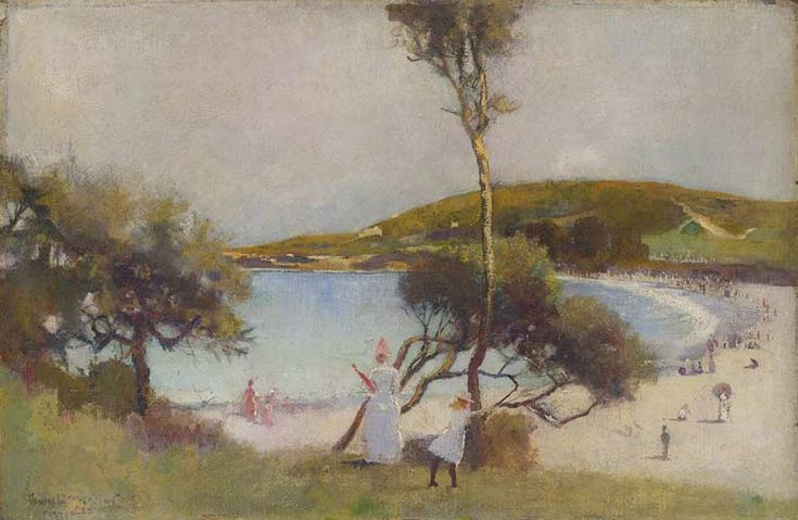 I think this is one of my favourite Australian paintings.  Coogee Bay by Charles Edward Conder.    An English-born painter, lithographer and designer. He emigrated to Australia and was a key figure in the Heidelberg School, arguably the beginning of a distinctively Australian tradition in Western art.