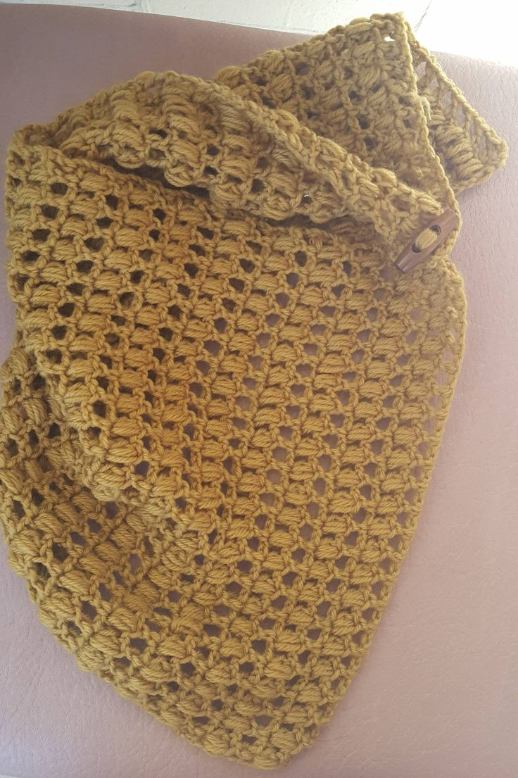 Mustard Yellow Crocheted Button Cowl /Scarf by KalaaStudio on Etsy