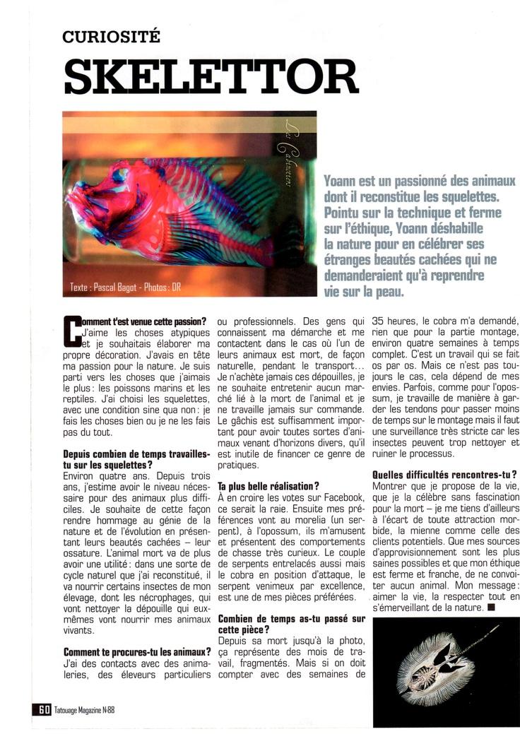 Interview pour Tatouage Magazine.