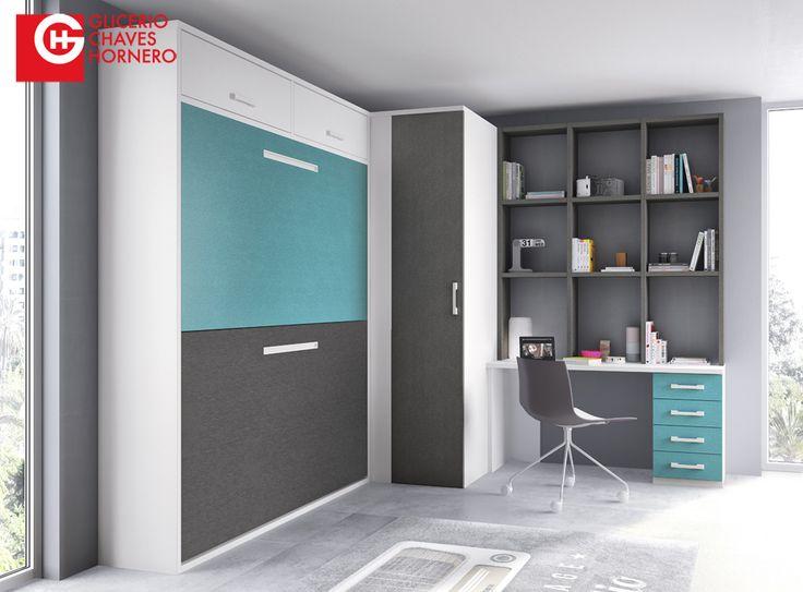 28 mejores imágenes de habitaciones juveniles con camas abatibles o ...