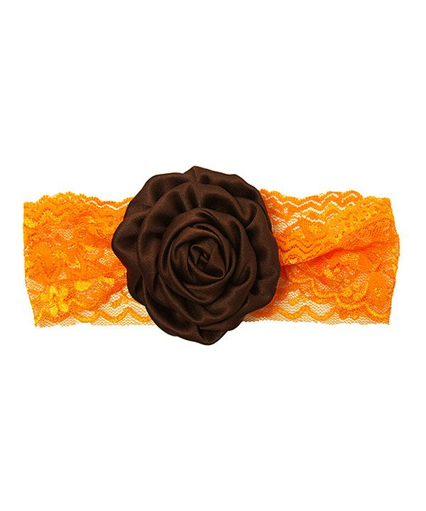 Look at this Dress Up Dreams Boutique Orange & Brown Satin Flower Headband on #zulily today!