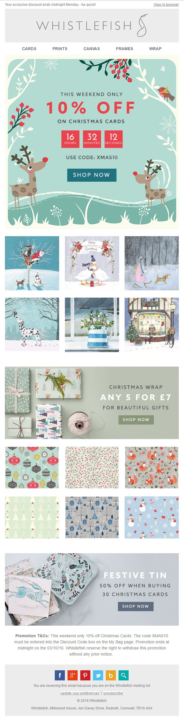 Countdown Timer from Whistlefish giving 10% off for one weekend on Christmas Cards #EmailMarketing #Email #Marketing #Christmas #CountdownTimer #Countdown #Timer #Gifts #Cards #Discount #Offer