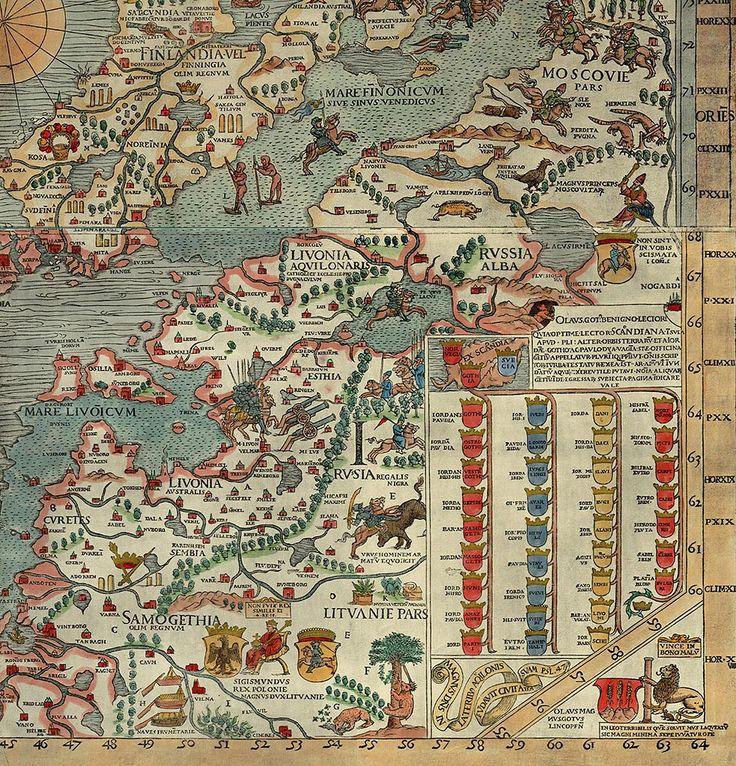 Baltic countries on Carta Marina, 1539.