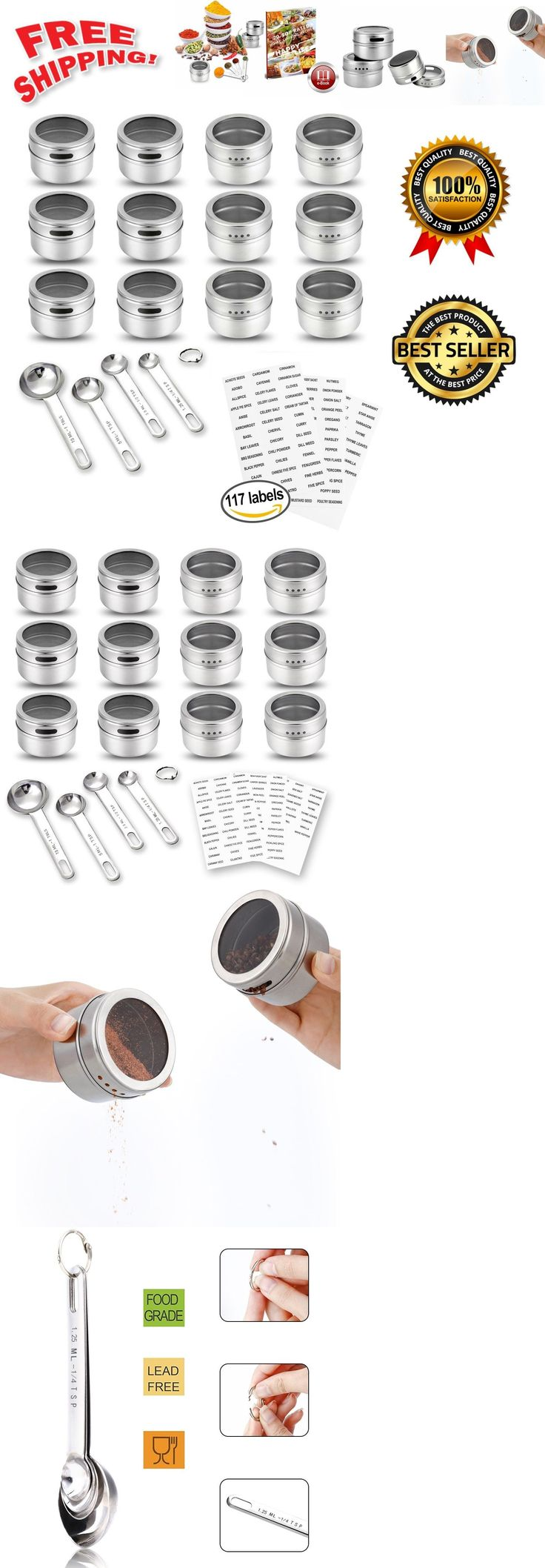Spice Jars and Racks 20646: Magnetic Spice Tin Set Stainless Steel Jars Clear Lids Containers Labels Spoons -> BUY IT NOW ONLY: $31.99 on eBay!