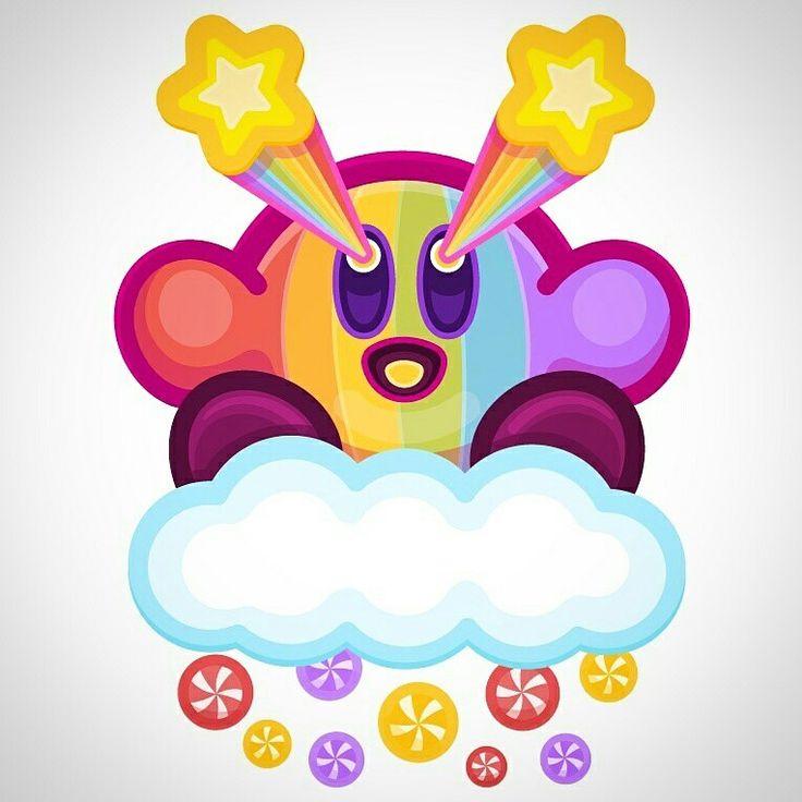Kirby! Super Happy Rainbow Land style!  <( '.')> #creationaday#nintendo #kirby #pink #rainbows #happy #mariobros
