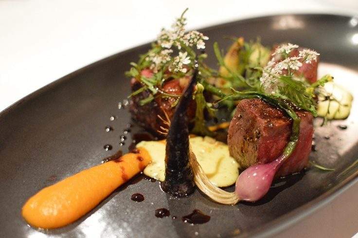 Darling Downs Master Kobe Wagyu Sirloin cooked over coals w baby onion, corn, heirloom carrots & confit carrot purée & red elk