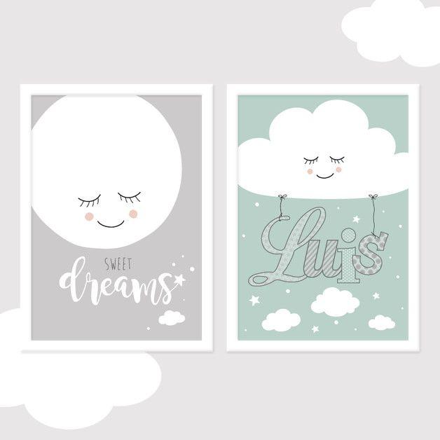 """**2er-Set """"Sweet Dreams"""" Mond&Wolke aus der Reihe SONNE, MOND & STERNE**  Ein wundervolles Bilder-Set mit dem Namen des Kindes zur Gestaltung des Kinder- oder Babyzimmers. Kommt auch als Geschenk..."""